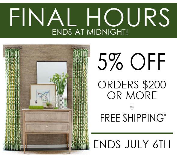 5% off orders interior home decor sale