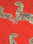 Scalamandre Wallpaper Zebras - Masai Red WP81388M-001