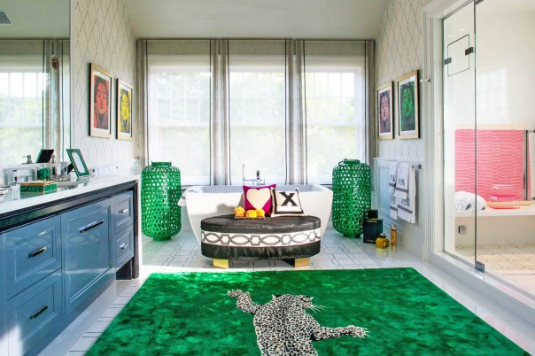 Elsa Soyars Green Animal Print Bathroom Interior Decor