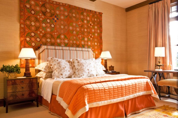 Gary McBournie Interior Decor Bedroom Orange Grasscloth