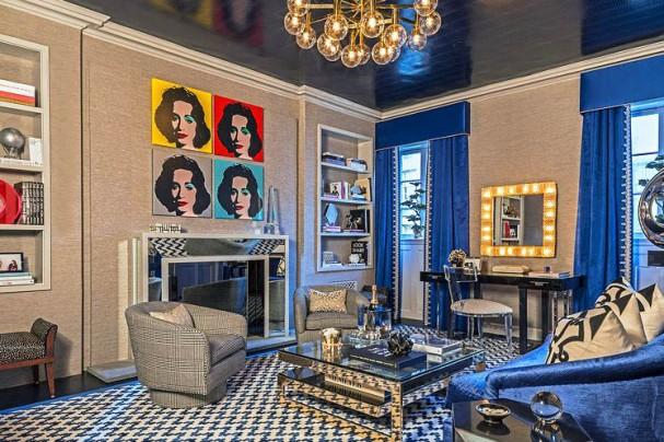 Jennifer Cohler Mason Living Room Blue Silver Metallic Interior Decor by Brett Beyer
