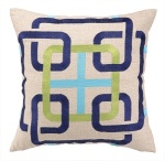 Navy Lime Green Cream Geometric Throw Pillow Bohochic Embroidery 24BR34BC18SQ