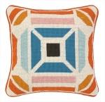 Trina Turk Throw Pillow Geometric Nvato Needlepoint blue orange 30TT96DC12SQ
