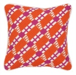 Geometric Bright Orange Pink Decorative Throw Pillow Lodi Bargello Down Fill Peking Handicraft  30TT99BC12SQ