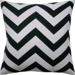 Antibes Ebony Chevron Stripe Throw Pillow Black White Ryan Studio