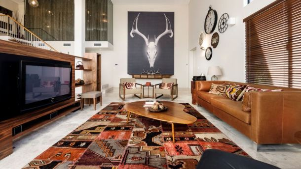 ethnic living room area rug interior decor