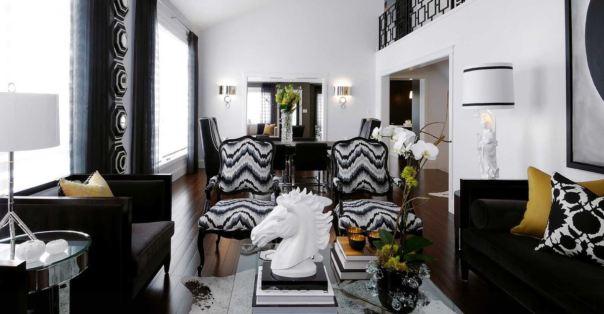 black and white classic interior decor living room