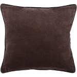 Solid Brown Cotton Velvet Throw Decorative Pillow CUS-28001_Flat