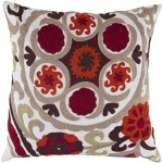 Surya Throw Pillow Ethnic Red Orange Tan white ff028