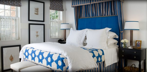 Blue and White Bedroom Interior Decor by Gary McBournie