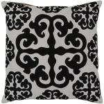 black white floral throw pillow surya lg576