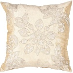 Jaipur Embroidered floral throw pillow gold MN01