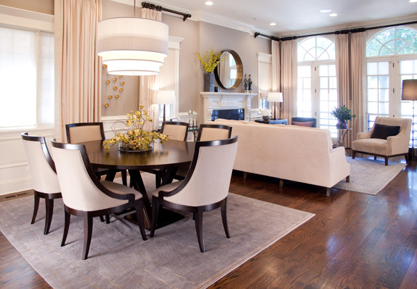 cream sophisticated transitional living room dining room decor by lisa wolfe design