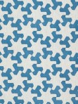Schumacher Blue Geometric Star Fabric Setareh Prussian