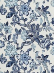 Blue and White Floral Bird Fabric by Timothy Corrigan for Schumacher Huntington Gardens Bleu Marine 175560