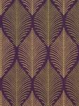 Purple Plum Fabric Leaf Pattern Nickel - Thistle Fabricut 2598104