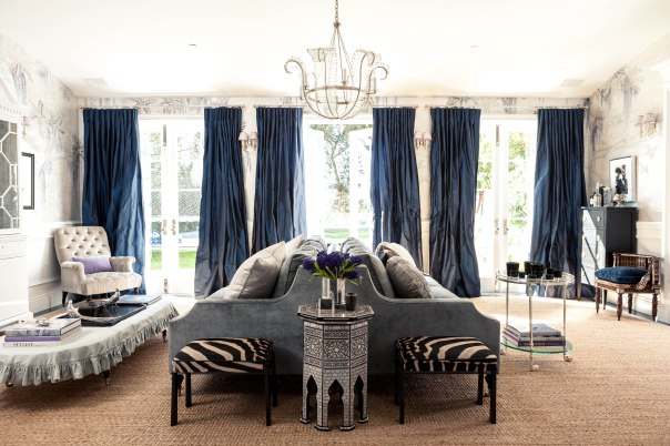 Living Room Sitting Grey Blue elegant interior decor by windsor smith designer