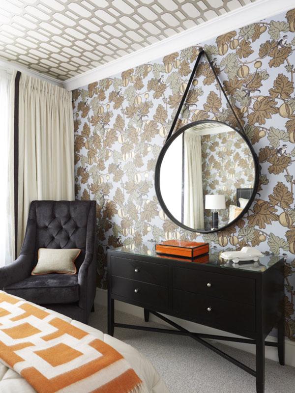 Black Orange Chic Decor Color Scheme Bedroom Wallpaper Accent