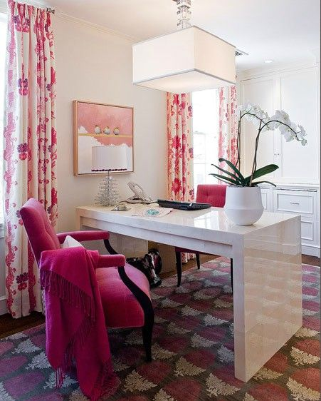 pink office interior decor contemporary modern white