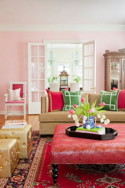 pink living eclectic room interior decor