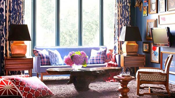 brian patrick flynn plaid interior decor preppy midcentury living room
