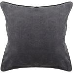 Grey Solid Cotton Velvet Throw Pillow Chandra CUS-28006_Flat