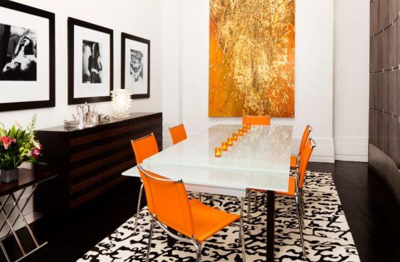 Orange Black Dining Room Typography Words Area Rug