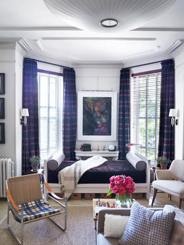 brooklyn small apartment using plaid fall interior decor