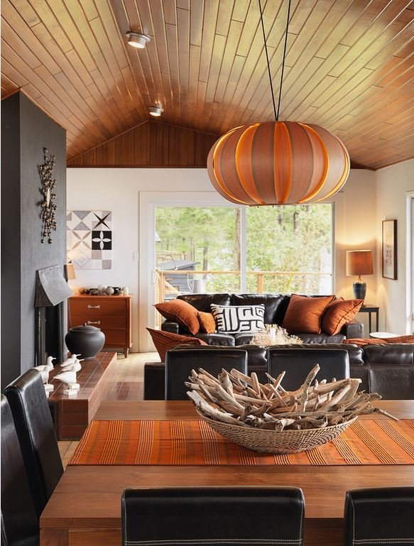 orange and grey interior decor dining living room johnson + mcLeod design consultants