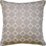 Grey Linen Embroidered Geometric Throw Pillow Ryan Studio Keswick Ribbon-104-T