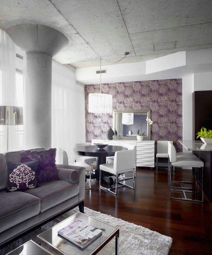Plum Accent Wall Interior Decor By LUX Design Photo Via