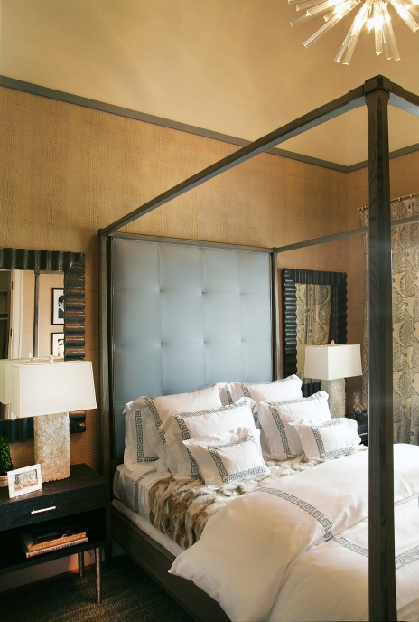 Neutral Bedroom Interior Decor Tan Grey Canopy Bed by Elsa Soyars