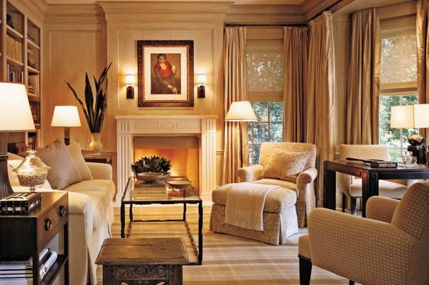 monochromatic room traditional decor plaid rug