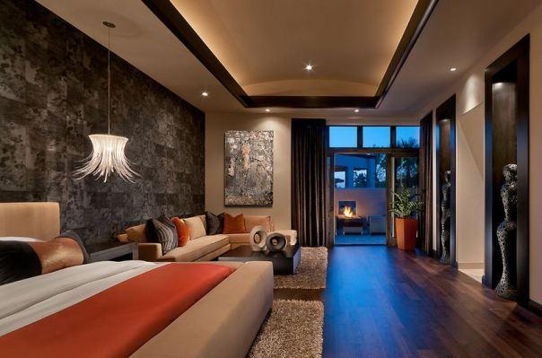 Sexy Orange Black Room Apartment Interior Decor