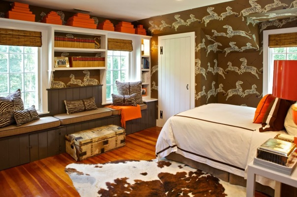 Scalamandre Zebras Wallpaper Brown Bedroom Interior Design by Sam Allen sse