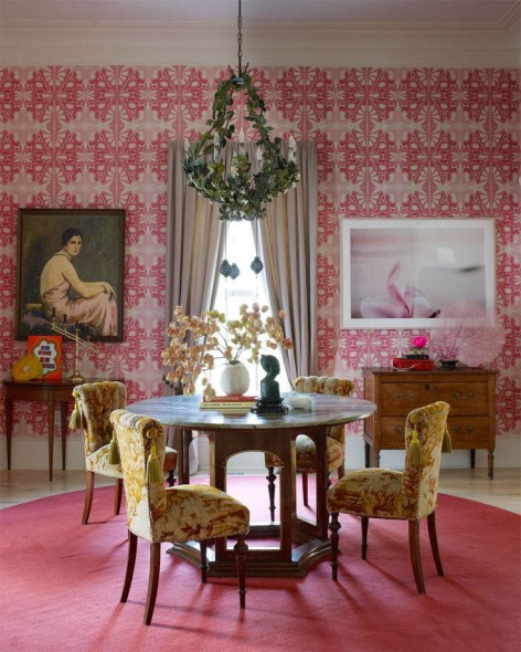 pink dining room toile geometric interior decor