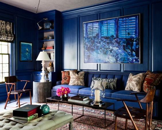 Thom Filicia Den Sitting Room Blue Indigo Interior Decor
