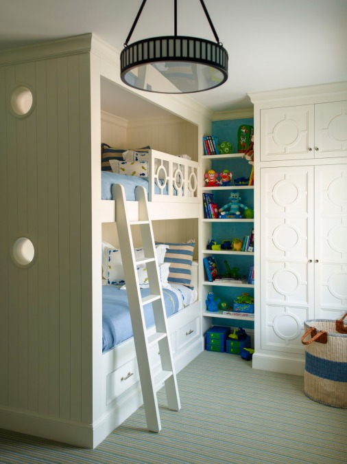 Ellie Cullman Interior Design Blue Bedroom Childrens Bunk Beds