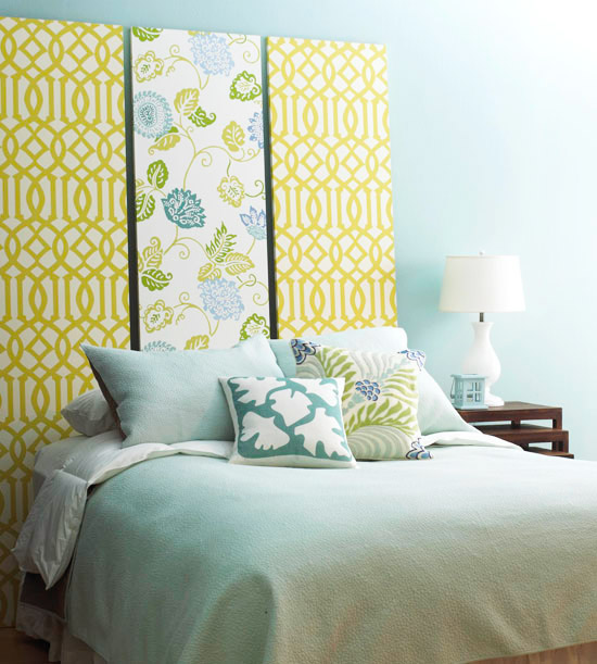 Make an Impromptu Headboard w 3 artist's canvases, pull taut staple hang behind bed