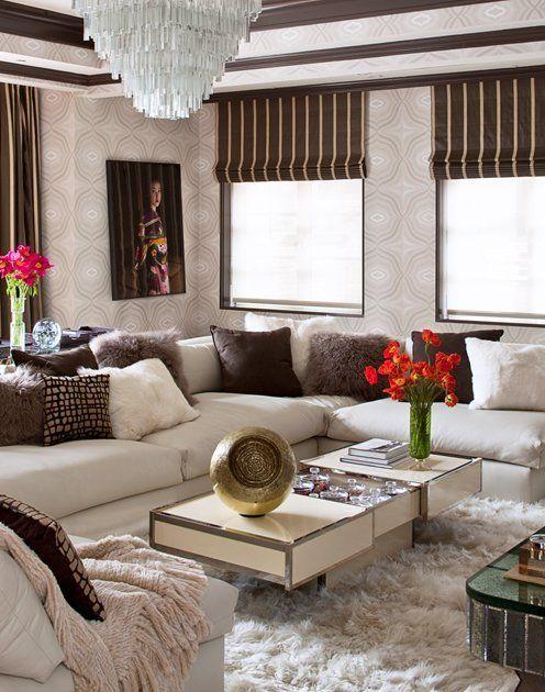 martyn lawrence bullard fur pillows rug interior decor cozy warm