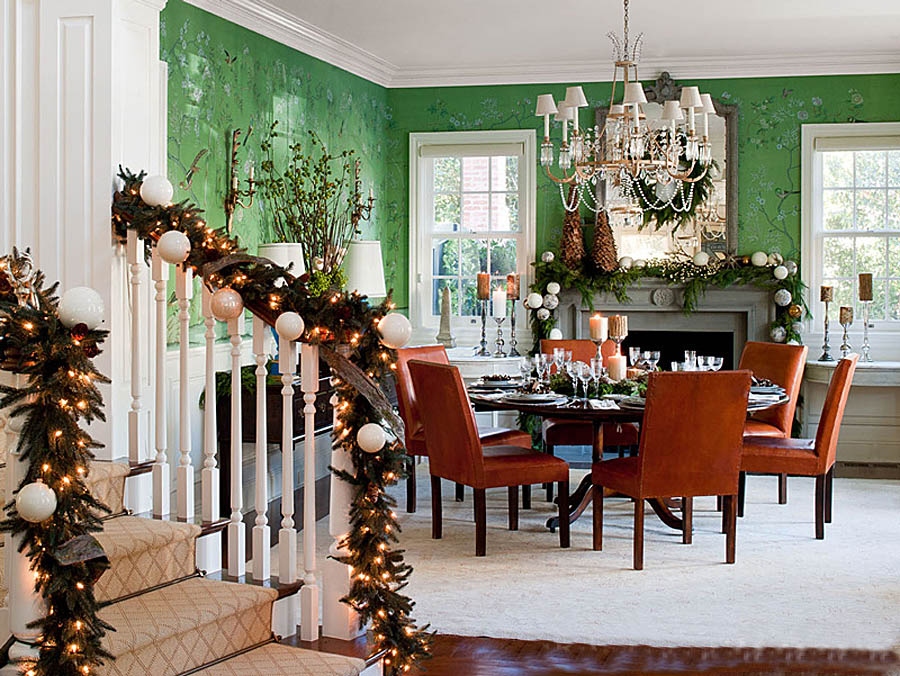 traditional home red and green christmas interior decor dining room - Traditional Home Christmas Decor
