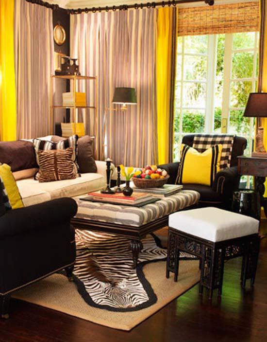 Mary McDonald Living Room Interior Design Yellow Black White