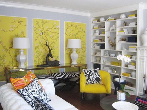 bold wallpaper interior decor yellow chinoiserie panels living room
