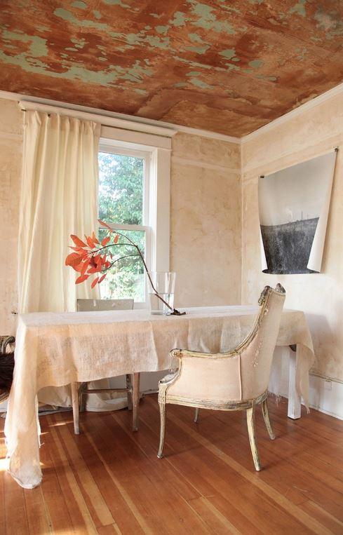 Distressed finish on Ceiling Peeling Paint Interior Decor