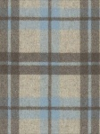 Grey Blue Wool Plaid Fabric Savile - Natural_Sky by Clarke & Clarke