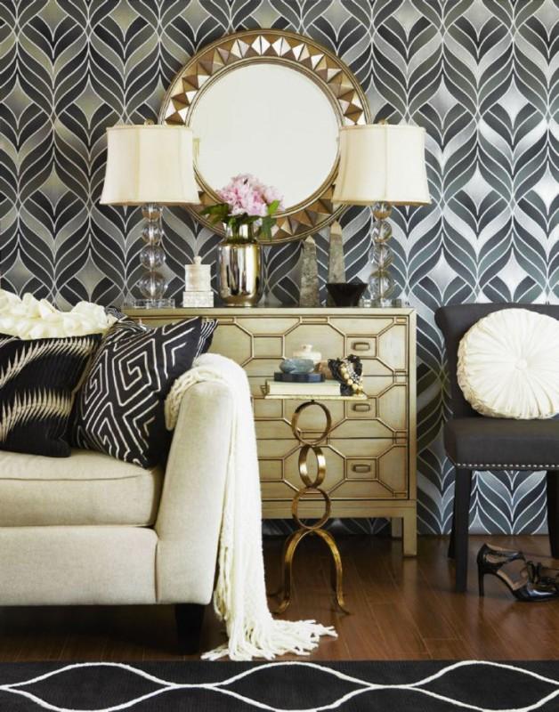 Bold wallpaper black white interior decor living room interior decor