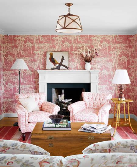 statement bold wallpaper interior decor cow parsley pink living room by designer melissa warner
