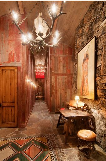 Lodge Look Distressed Wood and Stone Walls  Interior Decor