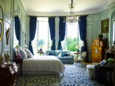 Blue White Traditional Elegant Bedroom Interior Decor by Timothy Corrigan