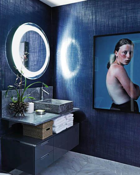 indigo walls interior decor powder room